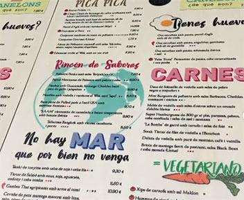 Cartas de restaurante hechas en contrachapado de 5 mm